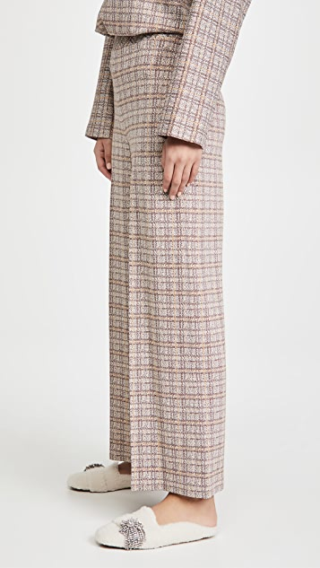 Rosetta Getty Pull On Cropped Straight Plaid Pants