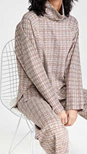 Rosetta Getty Cocoon Turtleneck Plaid Top