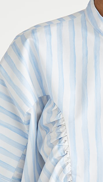 Rosetta Getty Ruffle Yoke Stripe Top