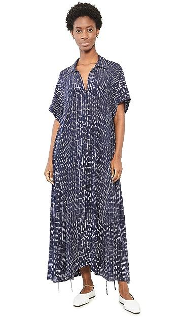 Rosetta Getty Tie Cocoon Short Sleeve Shirt Dress