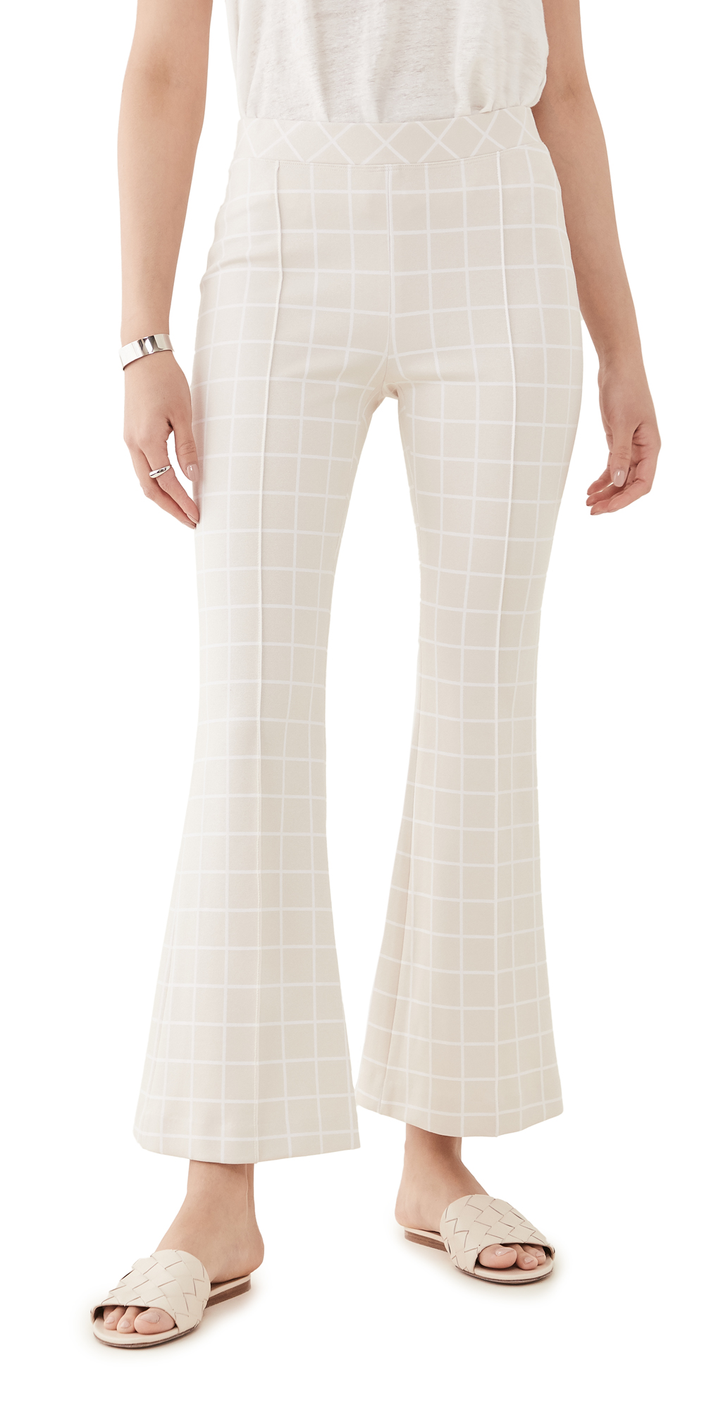 Rosetta Getty Cottons PULL ON CROPPED FLARE TROUSERS