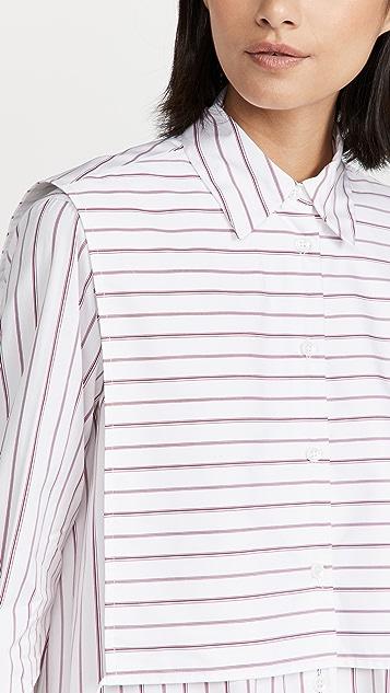 Rosetta Getty Tuxedo Bib Shirt Dress