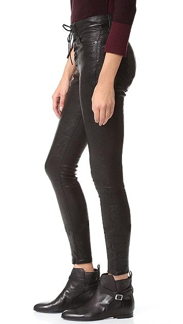 Rag & Bone/JEAN High Rise Lace Up Leather Pants