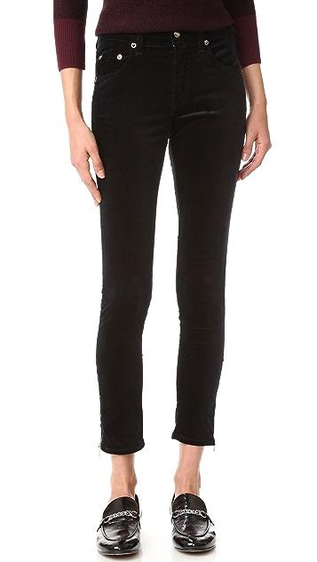 Rag & Bone/JEAN 10 Inch Velvet Zipper Capri Jeans