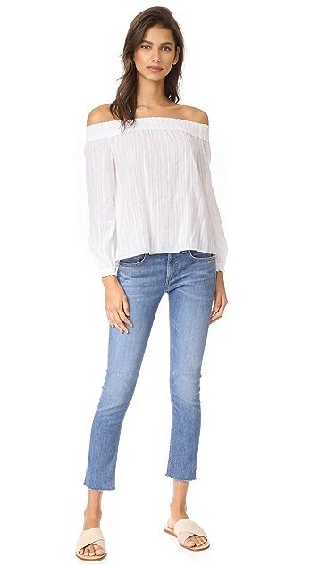 Rag & Bone/JEAN Frayed Hem Skinny Jeans