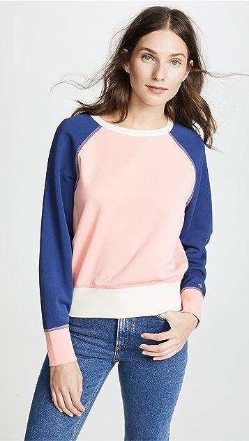 Rag & Bone/JEAN Colorblock Raglan Sweatshirt - Pink Rose