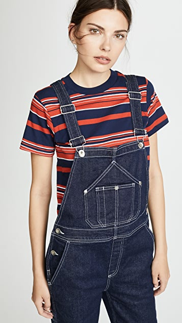 Rag & Bone/JEAN Patched Dungaree Overalls