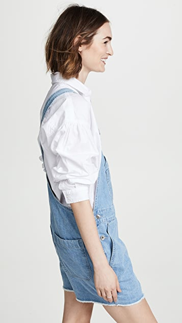 Rag & Bone/JEAN Patched Short Dungaree Overalls