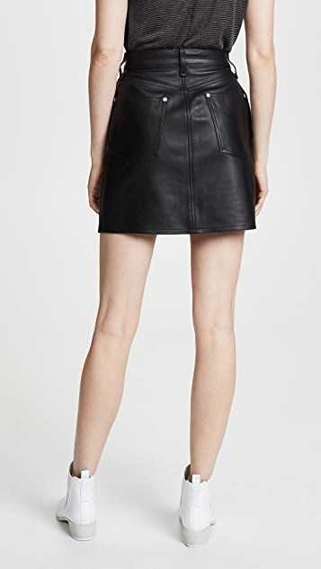 Rag & Bone/JEAN Moss Leather Skirt