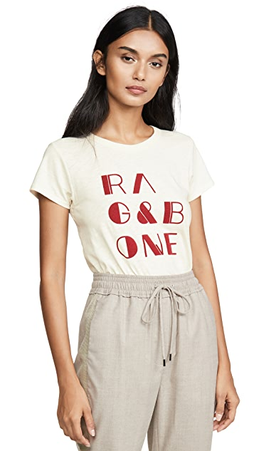 Rag & Bone/JEAN Футболка с логотипом из фетра