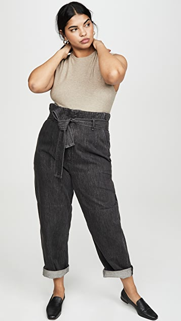 Rag & Bone/JEAN 超高腰捏褶牛仔裤