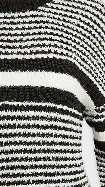 Rag & Bone/JEAN Teddy 条纹圆领毛衣