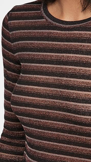 Rag & Bone/JEAN 条纹金属元素长袖 T 恤