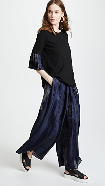 RHIE Tate Jersey Tee with Pleated Sleeves