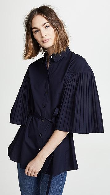 RHIE Pleated Sleeve Long Shirt