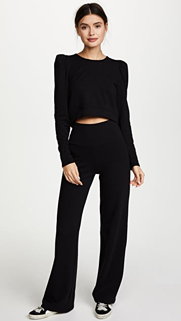 Riller & Fount Libby Puff Sleeve Cropped Sweatshirt