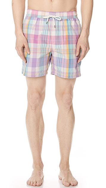 Polo Ralph Lauren Madras Plaid Swim Trunks