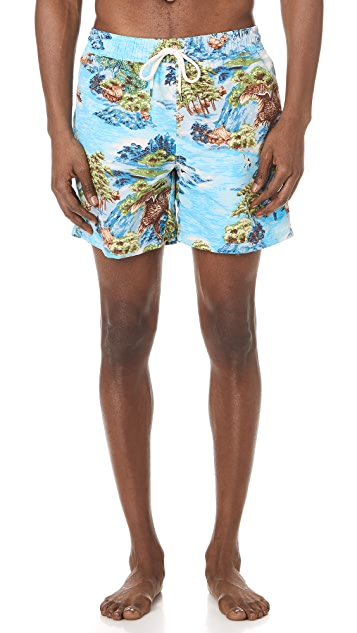 Polo Ralph Lauren Hawaiian Landscape Traveler Swim Trunks