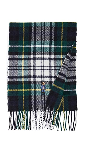 Polo Ralph Lauren Bear Embroidered Plaid Scarf