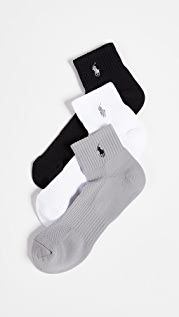 Polo Ralph Lauren 3 Pack Tech Athletic Quarter Socks