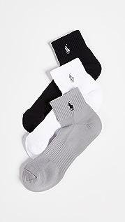 Polo Ralph Lauren 3 Pack Tech Athletic Quarter Socks