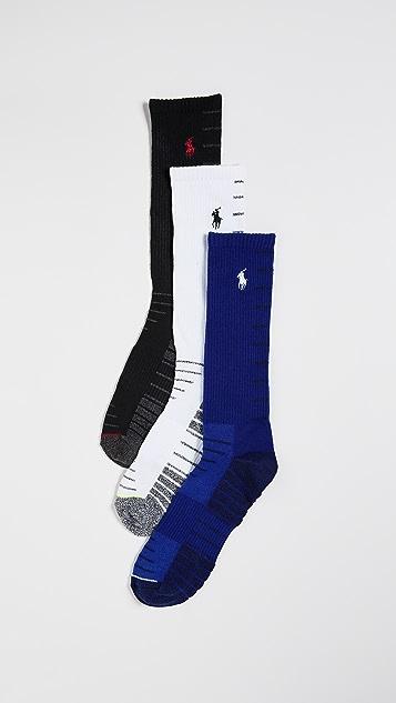 Polo Ralph Lauren 3 Pack Athletic Ladder Stripe Crew Socks