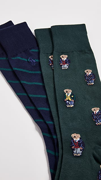 Polo Ralph Lauren 2 Pack Preppy Bears Socks
