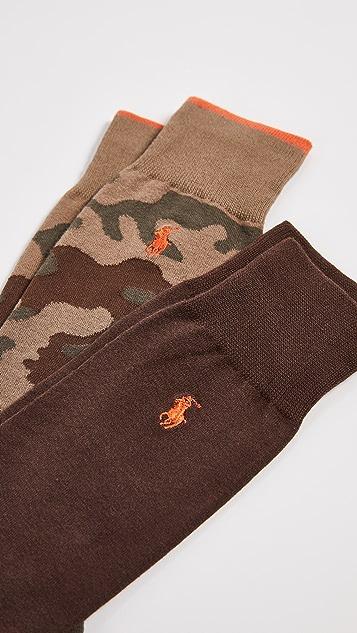 Polo Ralph Lauren 2 Pack Tipped Camo Socks