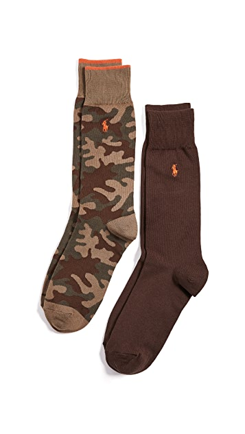 Polo Ralph Lauren 2 Pack Tipped Camo Socks