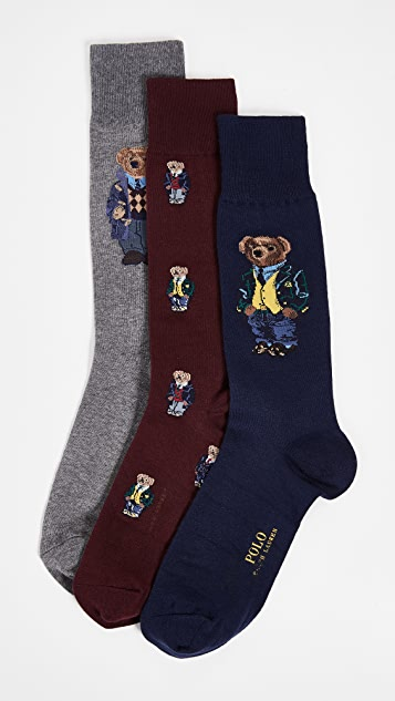 Polo Ralph Lauren & Polo Ralph Lauren Blazer Bear Socks 3-Pack Gift Box | EAST DANE