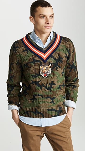 Polo Ralph Lauren V Neck Camo Sweater