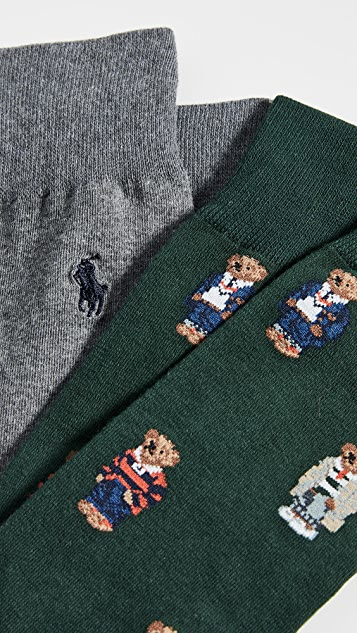 Polo Ralph Lauren Bear Squad Slack 2-Pack Socks