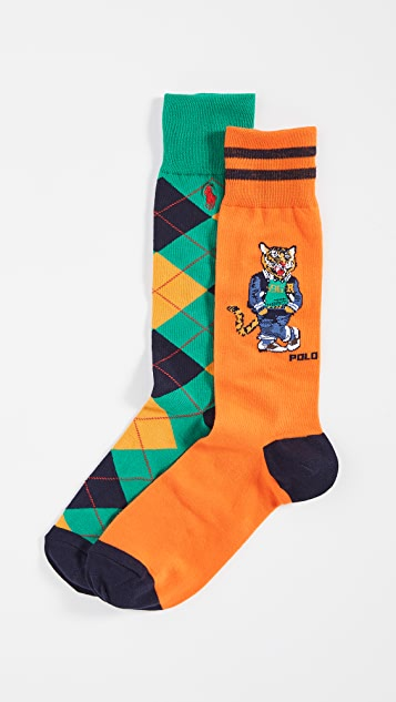 Polo Ralph Lauren Varsity Tiger 2 Pack Socks