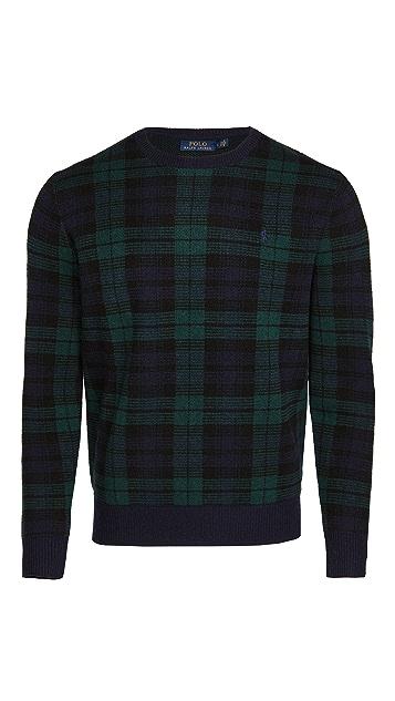 Polo Ralph Lauren Wool Blackwatch Plaid Crew Neck Sweater
