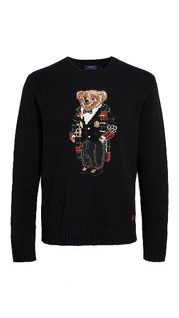 Polo Ralph Lauren Wool Holiday Bear Crew Neck Sweater