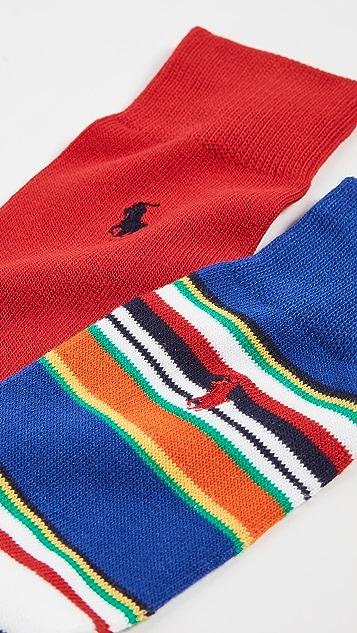 Polo Ralph Lauren Multi Stripe Slack Socks 2 Pack