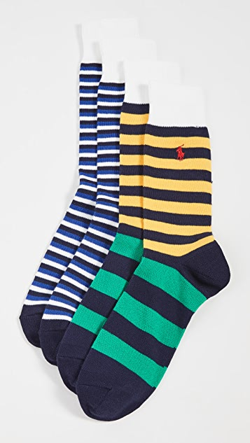 Polo Ralph Lauren Bermuda Stripe Slack Socks 2 Pack