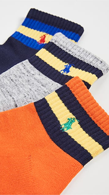 Polo Ralph Lauren Striped Quarter Socks 3 Pack