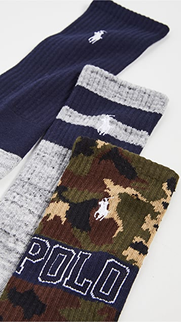 Polo Ralph Lauren Camo Crew Socks 3 Pack