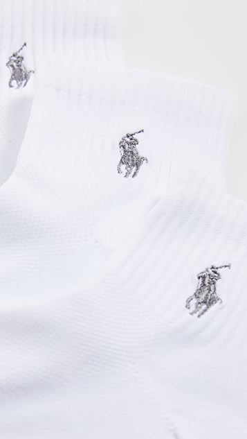 Polo Ralph Lauren 3 Pack Tech Athletic Quarter Socks with Polo Logo