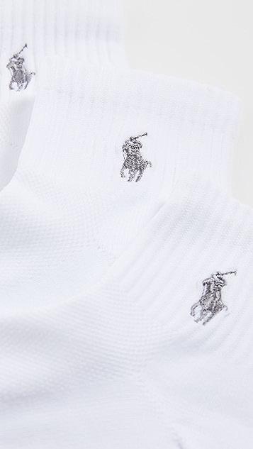 Polo Ralph Lauren 3 Pack Tech Athletic Quarter Socks with Polo Logo