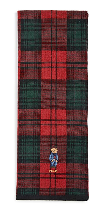 Polo Ralph Lauren Tartan Bear Knit Scarf