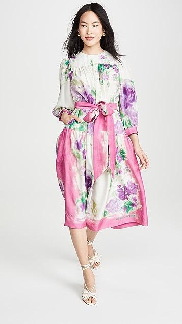 Runway Marc Jacobs Платье с принтом и шарфом с цветочным рисунком