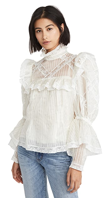Runway Marc Jacobs Pintucked Organza & Lace Edwardian Blouse