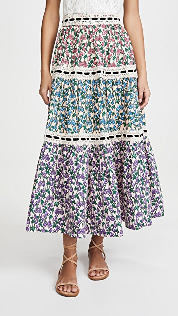 Runway Marc Jacobs Tiered Prairie Skirt With Lace Trim