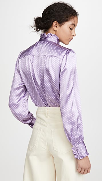 Runway Marc Jacobs Spot Blouse With Ruffle At Collar & Cuff