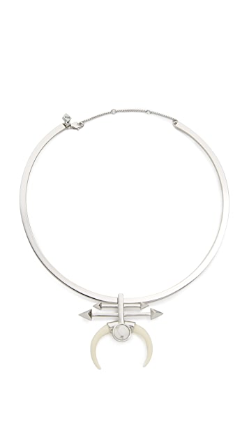 Rebecca Minkoff Boho Bead Double Tusk Collar Necklace