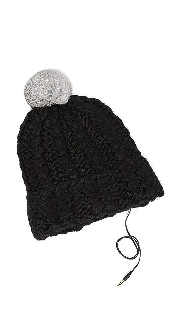 Rebecca Minkoff Hand Knit Cable Headphone Beanie