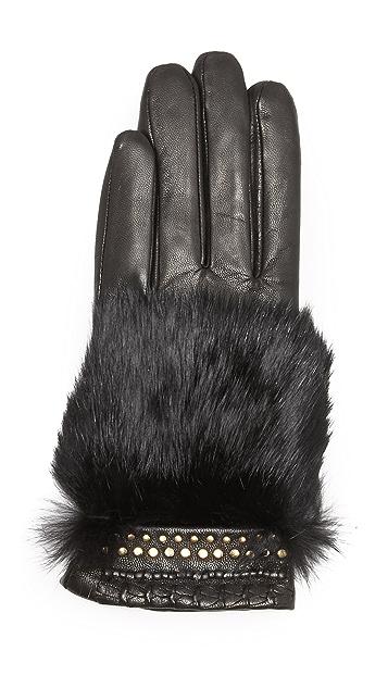 Rebecca Minkoff Fur Patch Texting Gloves