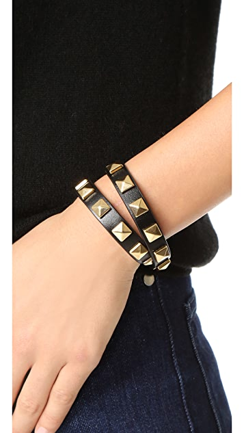 Rebecca Minkoff Double Row Leather Bracelet with Pyramid Studs